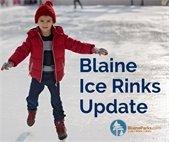 Blaine ice rinks update. Child skating on rink.