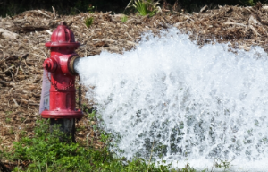 photo of open fire hydrant