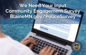 Take the Police Community Survey photo of person taking an online survey