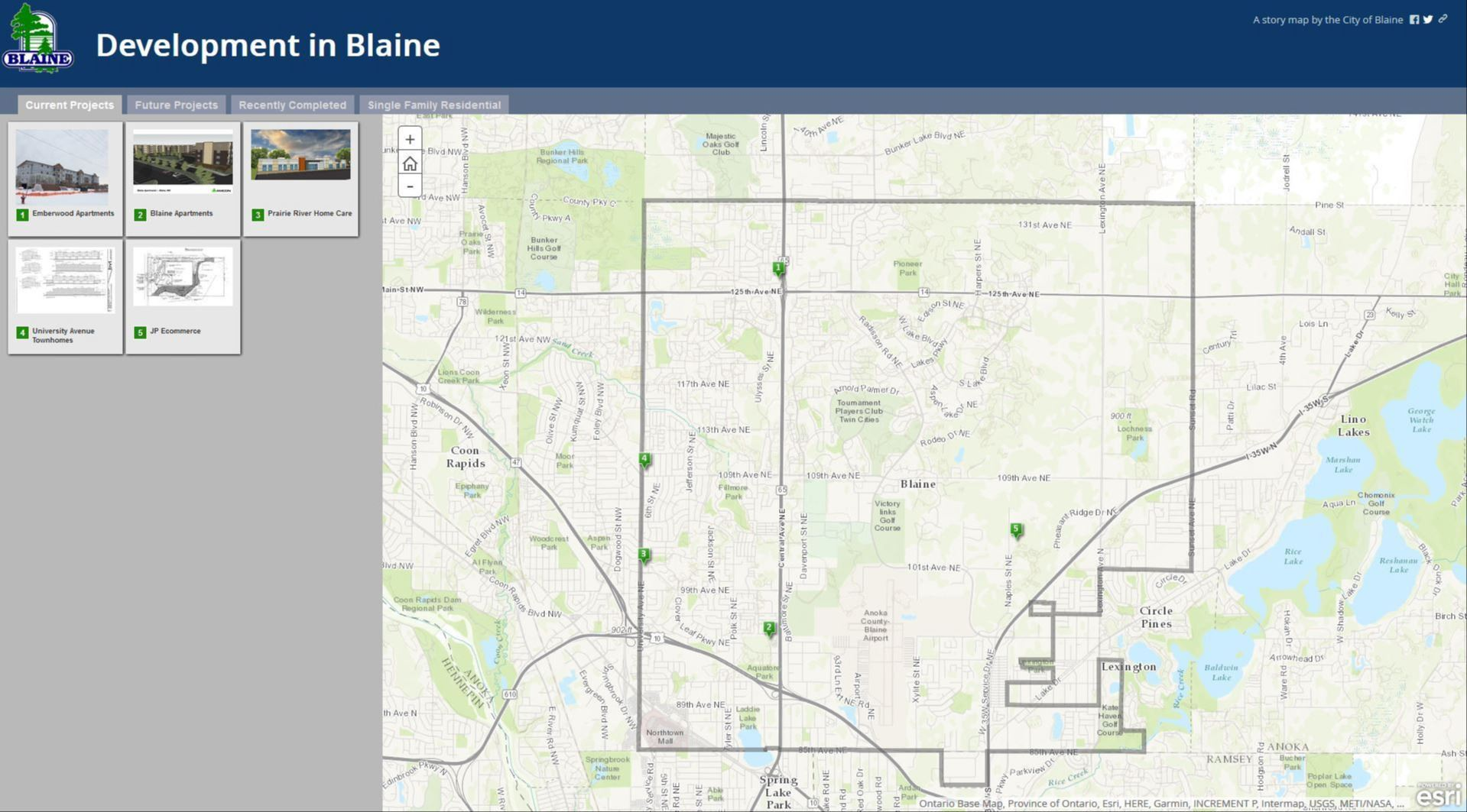 City of Blaine Development Web Map