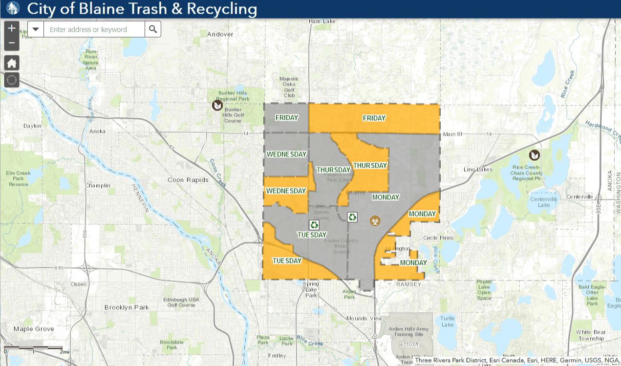 Trash and Recycling Web Map