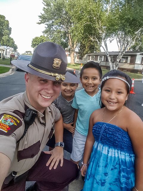 State Patrol Officer with Children