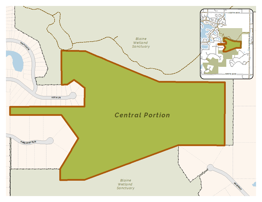 Map of the central portion of the Blaine Wetland Sanctuary
