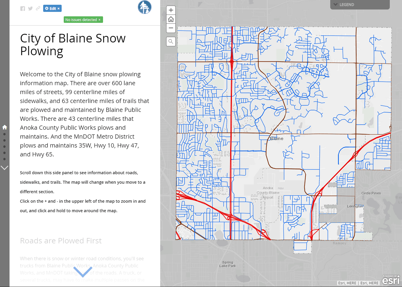 City of Blaine snow plow map application