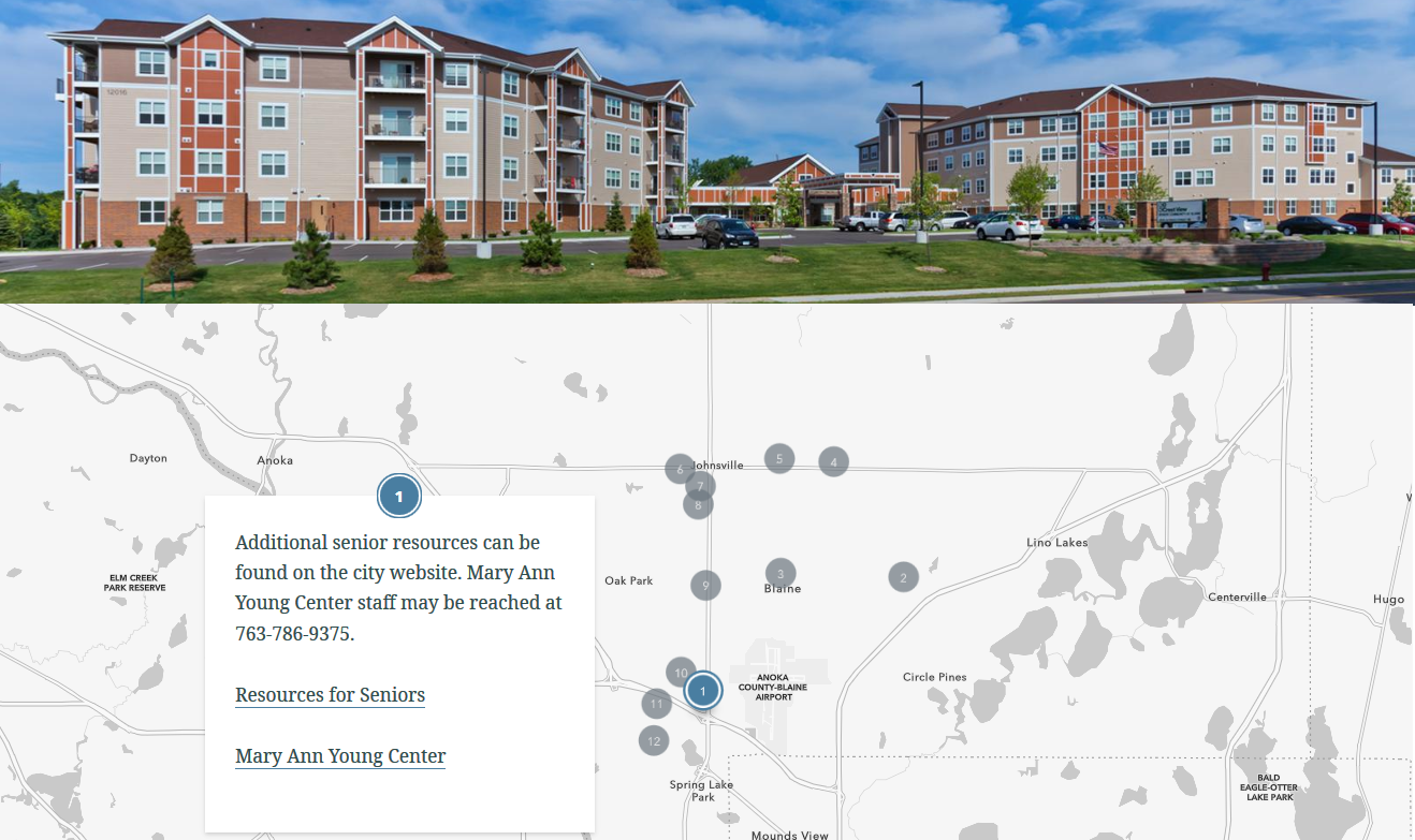 A snapshot of the map of senior housing options in the City of Blaine.