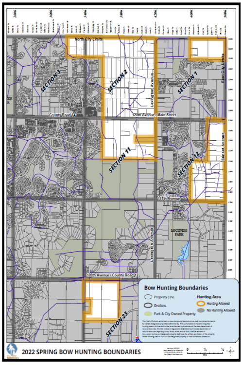 City of Blaine bow hunting  boundary map
